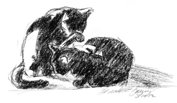 charcoal sketch of two black cats