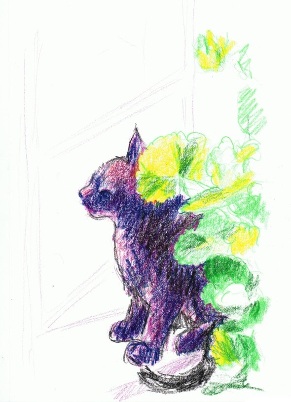 sketch of black cat in green leaves