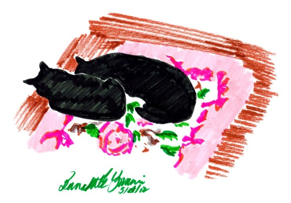 sketch of two black cats on rug