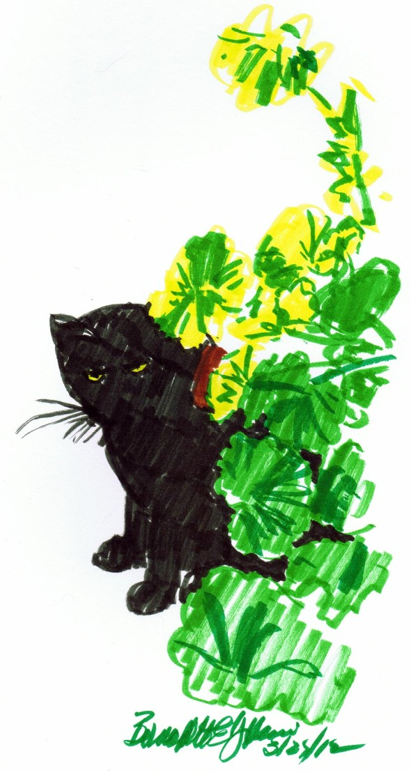 sketch of black cat with green leaves