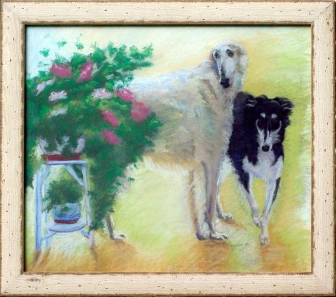 Borzois, framed.
