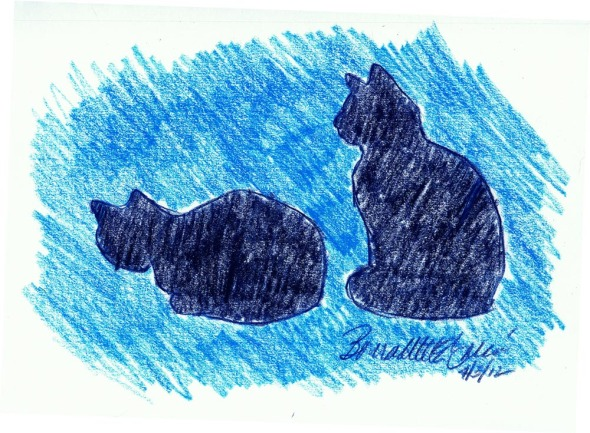 two cat silhouettes