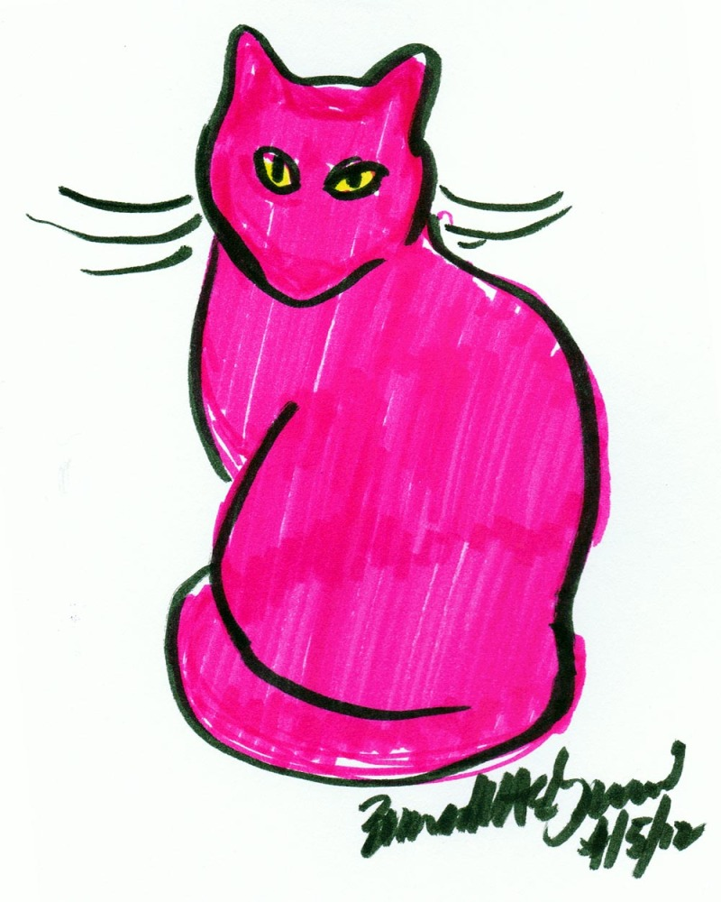cat sketch in pink