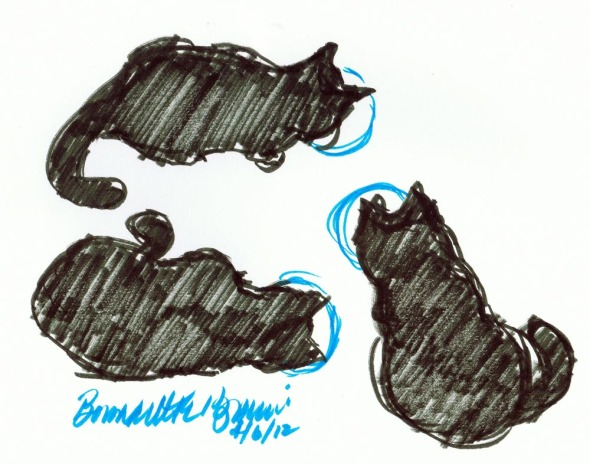 sketch of three cats eating