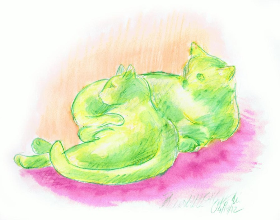 two cats in watercolor
