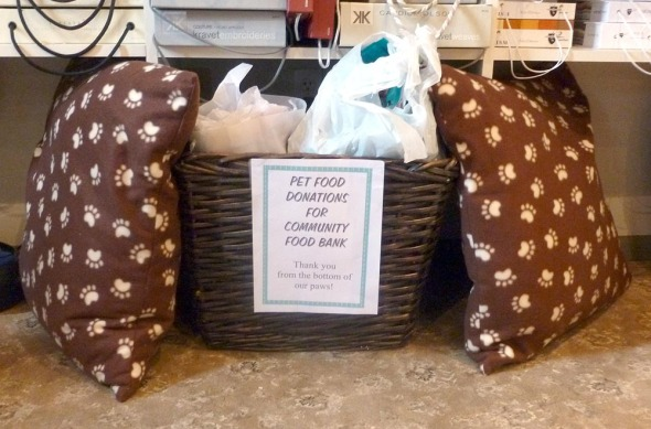 donation basket for pet food