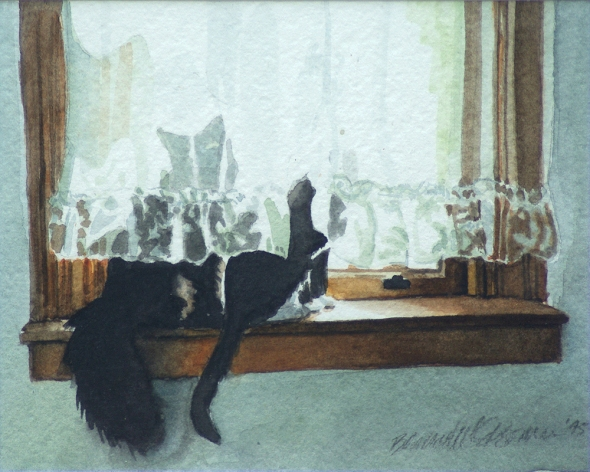 painting of two cats on windowsill with sheer curtain
