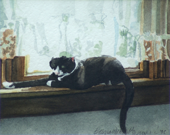 painting of black and white cat on windowsill