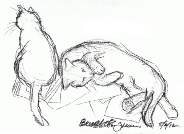 charcoal sketch of two cats