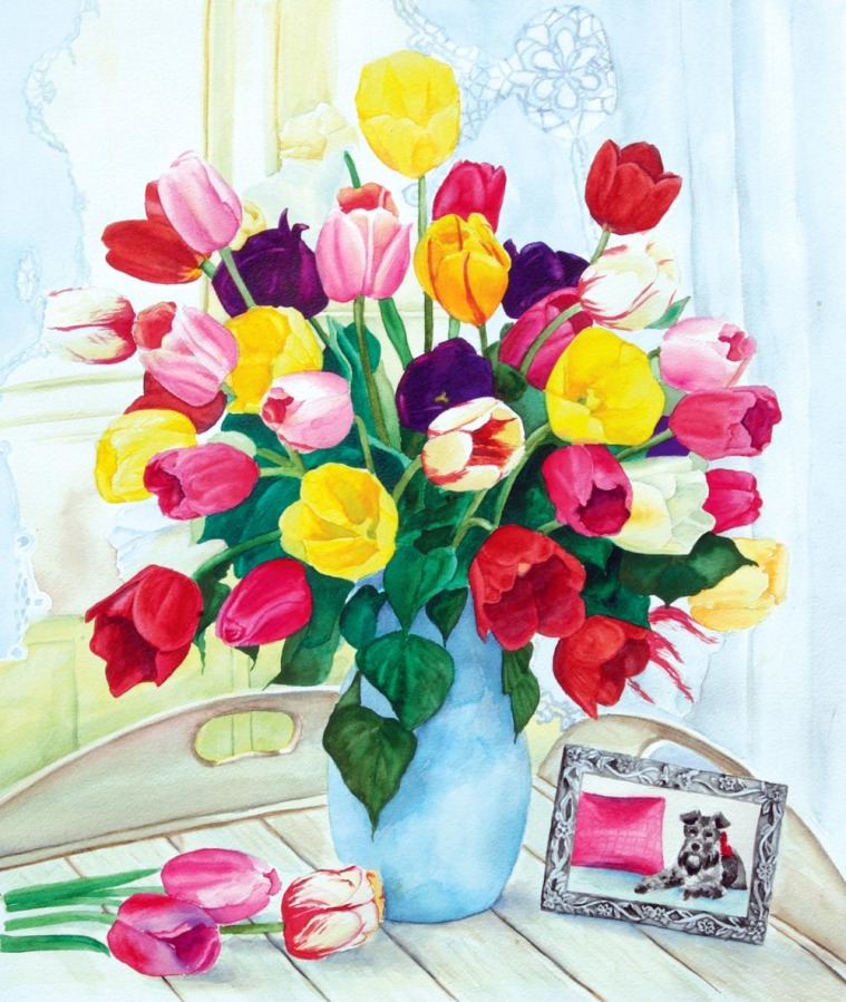 watercolor of tulips