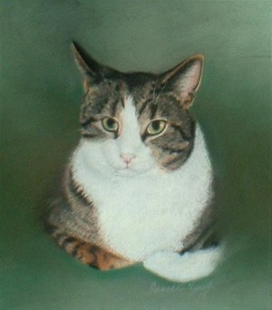 pastel portrait of tabby and white cat